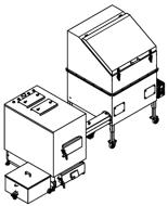 06652964 Automatyczny zestaw do spalania biomasy 1m3 230V 60kW, głowica: żeliwna, bez systemu usuwania popiołu (paliwo: trociny, wióry, zrębki, kora, brykiet, agrobrykiet, pellet, pestki owoców)