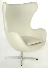 99851040 Fotel Jajo inspirowany Egg skóra (kolor: biały)
