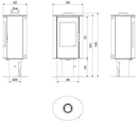 DOSTAWA GRATIS! 30055008 Piec wolnostojący koza 8kW AB GLASS (z panelami kaflowymi - biały) - spełnia anty-smogowy EkoProjekt