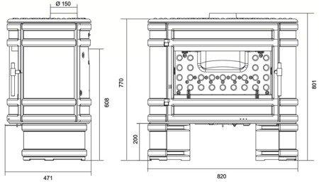 DOSTAWA GRATIS! 86854952 Piec wolnostojący Invicta 12kW Angor (górna lub tylna średnica wylotu spalin: 150mm) - spełnia anty-smogowy EkoProjekt