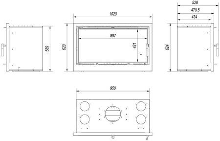 Kaseta kominkowa 14kW Arke 95 (szyba prosta) - spełnia anty-smogowy EkoProjekt 30065517