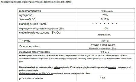 Piec wolnostojący Invicta 12kW Sedan L (kolor: antracyt) - spełnia anty-smogowy EkoProjekt 86829187