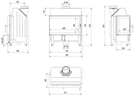 Wkład kominkowy 11kW Zibi BS (lewa boczna szyba bez szprosa) - spełnia anty-smogowy EkoProjekt 30040935